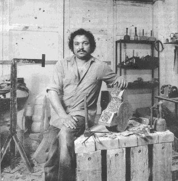 Abderrahim Chawki dans son atelier à Utrecht.